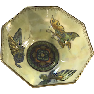 Fairyland Lustre Butterfly Octagonal Bowl By Daisy Makeig-Jones For Wedgwood Of England