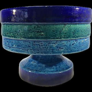 Bitossi 1970s Striped Ceramic Footed Pedestal Bowl Rimini Blue, Green Dark Blue