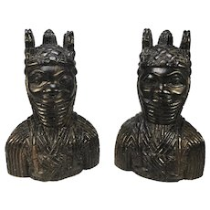 Benin King Oda And Queen Pair Of Hand Carved Antique Figures West African