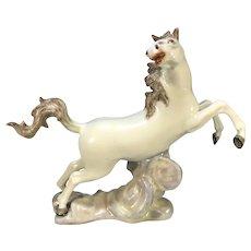 Lively Continental White Glazed Porcelain Hand-Painted Prancing Horse Figure Samson et Cie