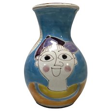 DeSimone, Italy Boy And Red Spinning Top Italian Mid-Century Shaped Vase 1960s