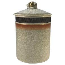 Thorkild Olsen For Royal Copenhagen Crackle Glaze Lidded Jar With Gilded Acorn Decoration #2772
