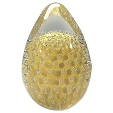 Exquisite Crystal & 24k Pure Gold, Hand Blown Egg Paperweight FM Konstglas, Ronneby, Sweden 1960's