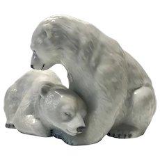 Allan Therkelsen For Royal Copenhagen Porcelain Twin Polar Bear Cubs Figurine #356
