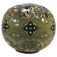 Jean Gerbino For Vallauris, France, Clay Glazed Green Mosaic Posy Potpourri Vase 1960's