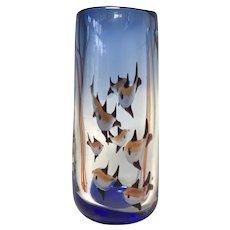 Aquarium Murano Tall Glass Vase, Rich Cobalt Blue, Italy Mid-Century Circa 1960