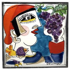 Original Signed By Giovanni DeSimone, Italy, Hand Painted Ceramic Tile 'Man With Grapes And Bird'