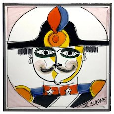 Original Signed By Giovanni DeSimone, Italy, Hand Painted Soldier Ceramic Tile