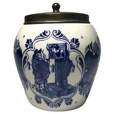 Dutch Delft Blue White Glazed Humidor Tobacco Jar, Stocks And Inscription Mid-Century