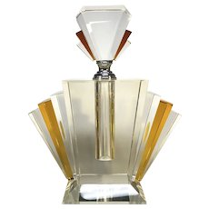Extremely Large And Exquisite, Art Deco Style Amber Crystal Perfume Bottle Decanter
