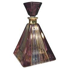 Vintage Murano Hand-Painted 24k Gold Amethyst Honey Pyramid Glass Perfume Bottle