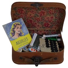 1940 French Miniature Briefcase & Sewing Accessories
