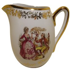 French Teapot - Limoges Bisque / Porcelain - Romantic Scene