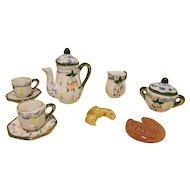 French Miniature Tea Set For Your Mignonette / Lilliputian - Handpainted Porcelain