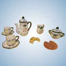 French Miniature Tea Set For Your Mignonette / Lilliputian - Handpainted Porcelain