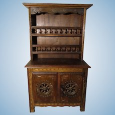 """Vintage French Brittany Hutch Cabinet 18"""" Tall - Old Furniture Doll"""