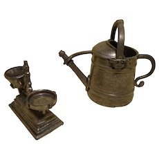Old French Miniature Pewter Watering Can & Kitchen Scale