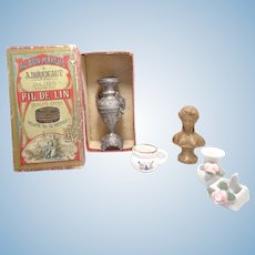 Old French Miniature Doll Accessories and Paper Paris Box