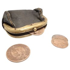 1855 French Napoleon III Coins + Leather Wallet