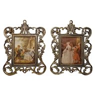 French Miniature Metal Frame with Romantic Scene X2