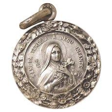 French Vintage Religious Pendant - Saint Theresa - Communion Medal