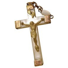 1920 French Crucifix Pendant Mother of Pearl