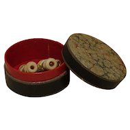 French Miniature Bones Binoculars / Stanhope For Your Doll - With Paper Box Circa 1930