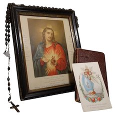 1874 French Communion Card & Accessories