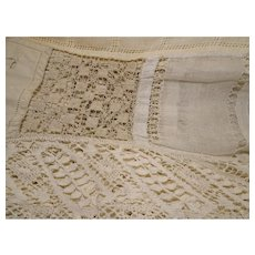 """1930 French Lace and Cut Work 56"""" by 12"""" X2"""