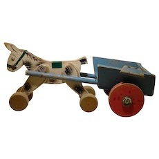 1950 French Wood Horse Pull Toy