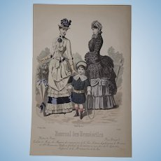 """1884 French Lithography """"Modes de Paris"""""""