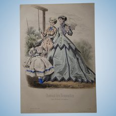"""1866 French Lithography """"Paris Costume"""""""