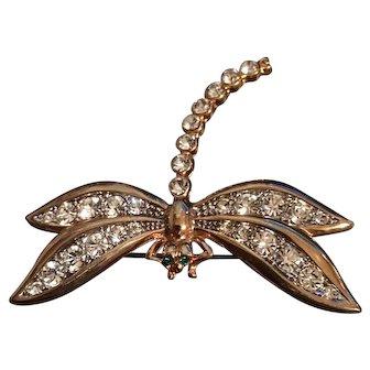 Vintage Quality Rhinestone Studded Dragonfly Brooch