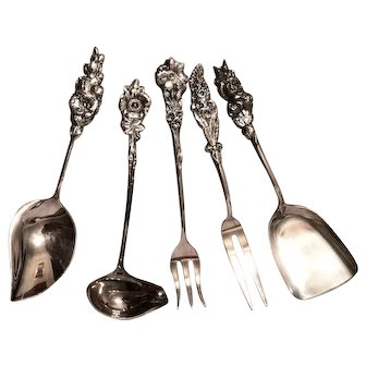 Reed and Barton Silver Plated Serving Utensils Harlequin Pattern