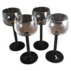 Cristal D'Arques-Durand Luminarc Domino Signature Black Stem Rhine Wine Glasses Set of 4 France