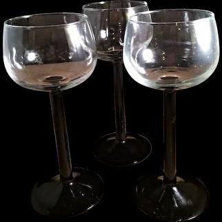 Cristal D'Arques-Durand Luminarc Domino Signature Black Stem Rhine Wine Glasses Set of 3 France