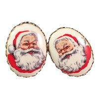 Vintage Hand Painted Porcelain Santa Clip Earrings