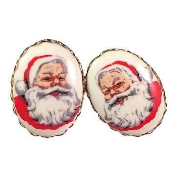 Vintage Hand Painted Porcelain Santa Clip Earrings