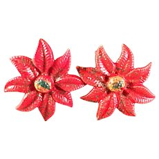 Vintage Plastic Poinsettia Earrings Screwback