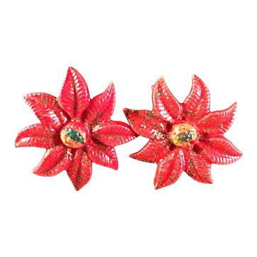 Vintage Plastic Poinsettia Earrings Screwback