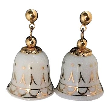 Holiday New Years Eve Porcelain Bell Pierced Earrings