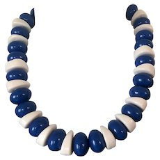 Vintage Big Bead Blue White Monet Necklace