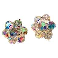 Rainbow Aurora Borealis Crystal Screwback Earrings
