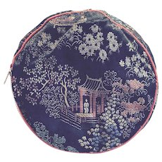Vintage Tapestry Zippered Jewelry Makeup Travel Pouch Oriental Scenery