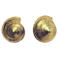 Vintage Napier Nautical Shell Clip Earrings
