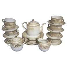 1920s Noritake Chikaramachi Painted Tea Set & Dessert Plates
