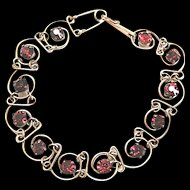 Ruby Rhinestone and Wrapped Wire Bracelet