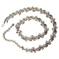 Aurora Borealis Trio on Goldtone Demi Necklace Bracelet