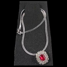 Dazzling Red and Clear Rhinestone Necklace