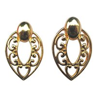 Vintage Large Filigree Heart Clip Earrings